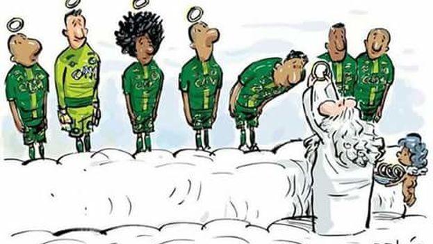Viñeta del caricaturista brasileño Dalcio Machado para homenajear a las víctimas del accidente de avión que se cobró la vida de 19 jugadores del equipo Chapecoense