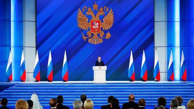 El presidente ruso, Vladímir Putin, durante el discurso sobre el estado de la nación ante la Asamblea Federal. (EFE)