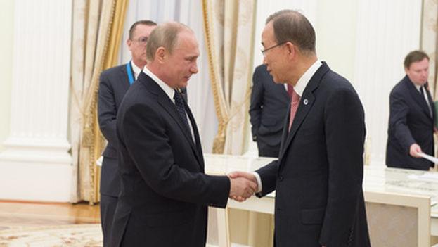 El presidente ruso, Vladímir Putin, y el secretario general de Naciones Unidas, Ban Ki moon, el pasado mes de mayo. (ONU)
