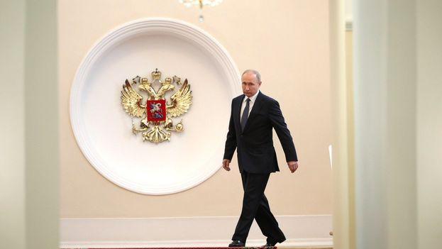 Vladimir Putin entrando a la ceremonia de investidura del que será su cuarto mandato. (PutinRF_Eng)