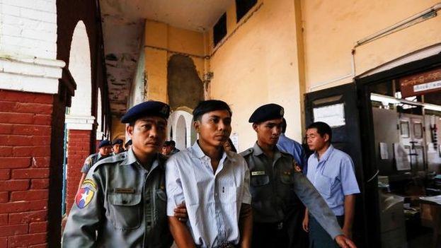 Wa Lone y Kyaw Soe Oo pueden apelar la condena de siete años que han recibido por investigar una matanza de rohinyás. (EFE)