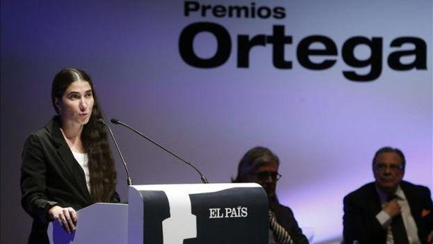Yoani Sánchez recibió el premio Ortega y Gasset por Generación Y en 2008, aunque no pudo recogerlo hasta cinco años después. (El País)