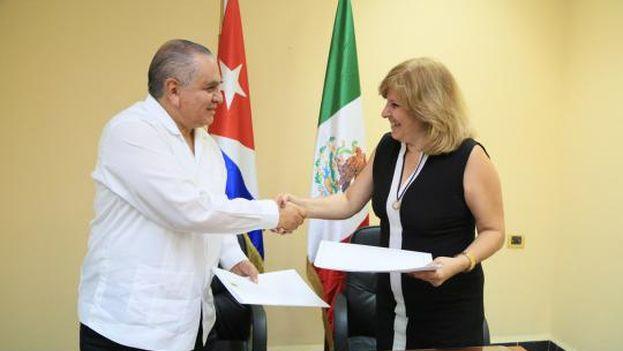 La viceministra cubana de Exteriores, Ana Teresita González, recibió este viernes al comisionado del Instituto Nacional de Migración de México, Ardelio Vargas. (Minrex)