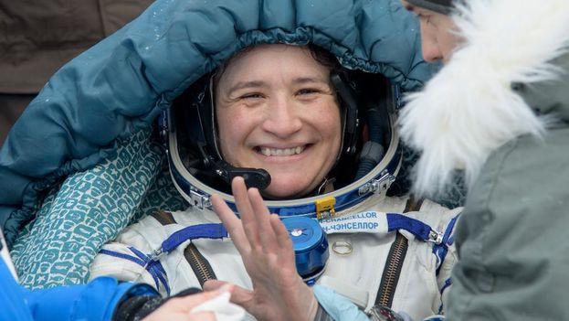 La astronauta de origen cubano Serena Auñón-Chancellor regresó a la Tierra este jueves después de 179 días en el espacio. (@NASA)