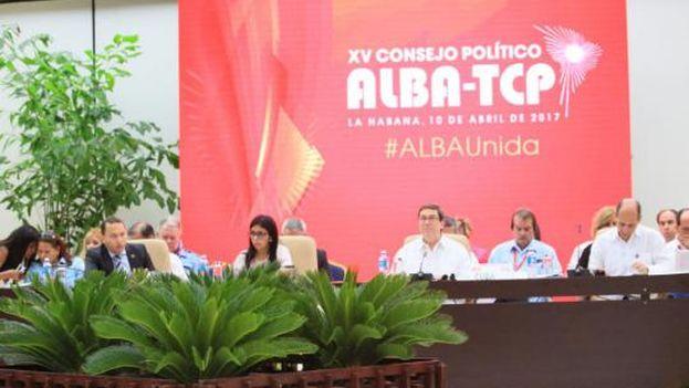 """Durante la reunión, Bruno Rodríguez también se refirió a la """"actuación perversa, indigna y enloquecida"""" del secretario general de la OEA, Luis Almagro. (Minrex)"""