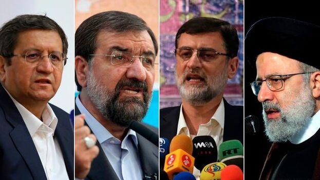 Los cuatro candidatos que se miden hoy en las urnas son Ebrahim Raisí, Abdolnaser Hematí, Mohsen Rezaí y Amirhosein Qazizadeh Hashemí. (EFE)