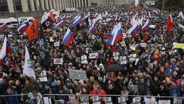 Las protestas contra el veto a candidatos opositores en las elecciones locales comenzaron en Moscú el 14 de julio. (EFE)