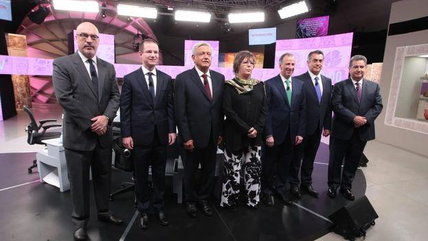 Los candidatos presidenciales mexicanos en el último debate televisivo. (INEMéxico)