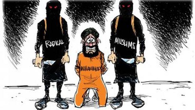 Una de las caricaturas de la exposición objetivo del ataque