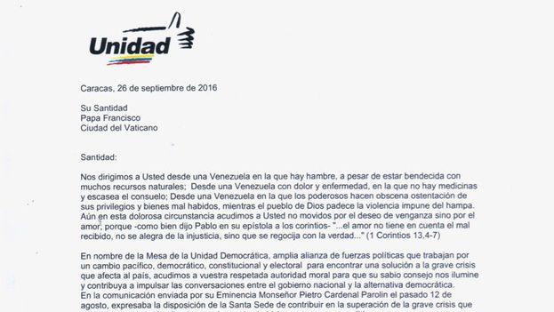 La carta de la Mesa de la Unidad Democrática. (Twitter)