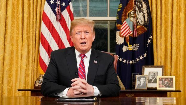 La comparecencia de Trump levantó la expectativa de que declarara la emergencia nacional. (EFE)