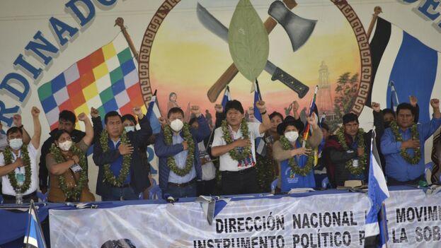 En la inauguración del congreso participaron altos dirigentes del MAS, como el mandatario, Luis Arce, y los presidentes del Senado, Andrónico Rodríguez, y de la Cámara de Diputados, Freddy Mamamani Laura. (EvoMorales)