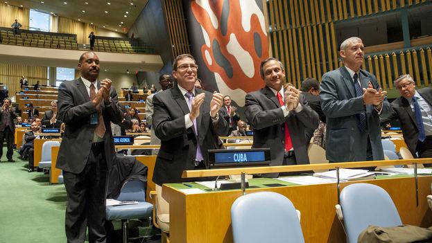 La delegación cubana encabezada por Bruno Rodríguez en la votación. (UN Photo/Cia Pak)