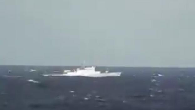 El destructor 'Sahand' navegando por el Atlántico, en un video difundido por la televisión estatal iraní. (Captura)