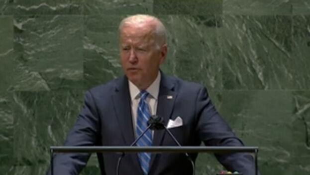 El discurso de Joe Biden fue en buena parte a favor de la democracia. (Captura)