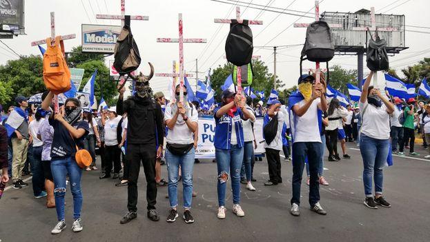Los estudiantes nicaragüenses pidieron justicia para sus compañeros fallecidos en las protestas contra Ortega. (@Maynorsalaz)