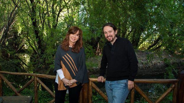 El encuentro tuvo lugar en la casa que la viuda del también expresidente Néstor Kirchner, tiene en la sureña localidad de El Calafate. (@Pablo_Iglesias_)
