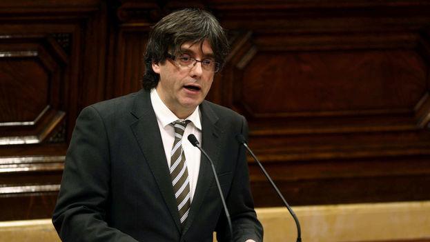 """Durante su intervención el líder catalán dijo que Cataluña es """"un mismo pueblo"""" en el que caben los que piensan de modo diferente. (EFE)"""