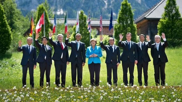 Los líderes del G7 saludan al concluir la Cumbre en Alemania. (@g7)
