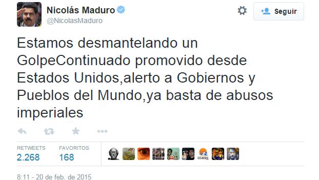 Un tuit del mandatario venezolano, Nicolás Maduro. (Twitter)