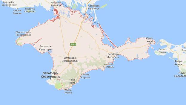 El mapa de Crimea en Google Maps.