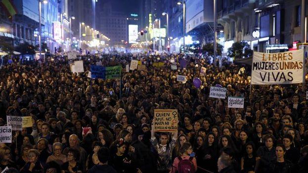 La marcha por el 8 de marzo, Día de la Mujer, en Madrid. (EFE)