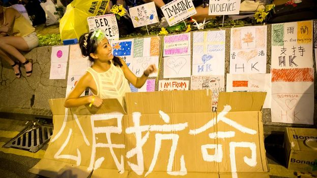El movimiento estudiantil prodemocrático subraya su caracter pacifista. (Gustav Lindgren)