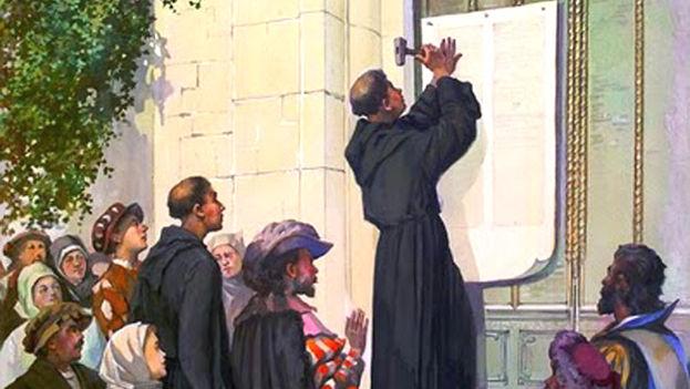 El 31 de octubre de 1517 Lutero clavó sus 95 tesis en la puerta del Castillo de Wittenberg. (Ilustración-Cortesía)