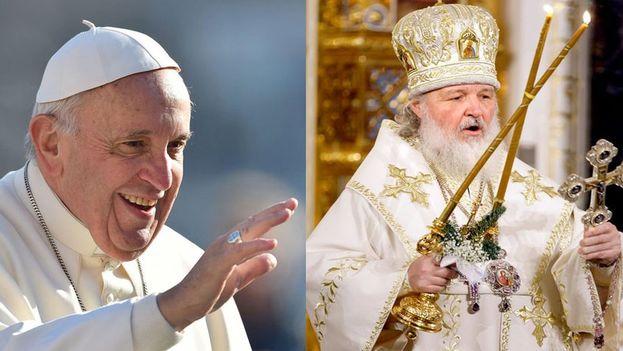 El patriarca de la Iglesia ortodoxa rusa, Kiril y el papa Francisco.