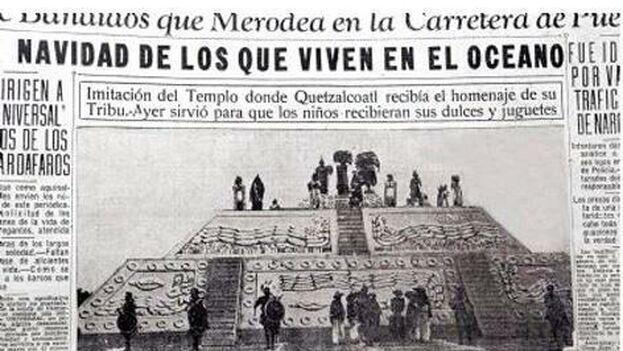 Los periódicos de la época recogieron aquella navidad en que los niños recogieron sus regalos de un dios prehispánico. (El Universal)