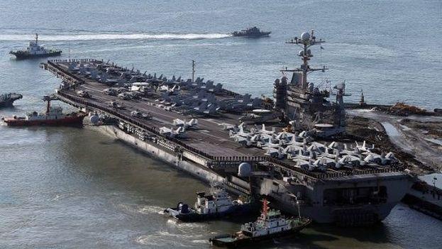 Un portaaviones norteamericano en la península coreana. (Archivo EFE)