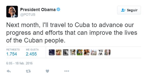 El tuit del presidente de EE UU, Barack Obama.