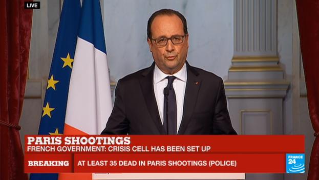 El presidente francés, François Hollande, declara el estado de emergencia y el cierre de las fronteras. (France 24/captura de pantalla)