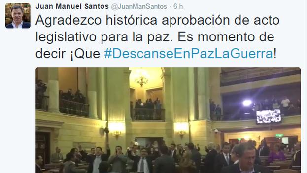 El tuit del presidente Juan Manuel Santos. (@JuanManSantos)