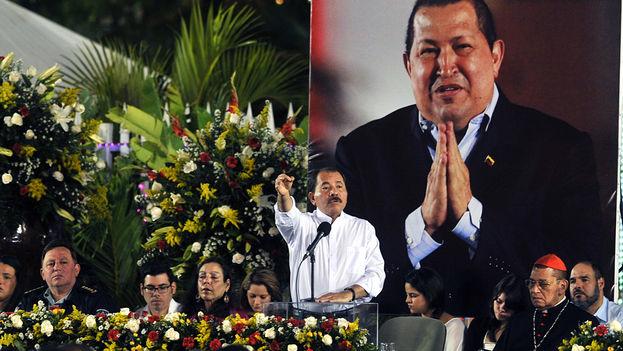 El presidente de Nicaragua, Daniel Ortega, tras el fallecimiento del presidente de Venezuela Hugo Chávez. (EFE Archivo)
