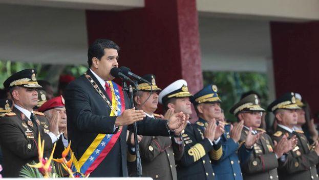 El presidente venezolano, Nicolás Maduro, en el desfile militar de este martes. (@PartidoPSUV)