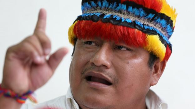 """El pronunciamiento de Vargas tuvo lugar mientras el movimiento Pachakutik, brazo político de la Conaie, avanza en su campaña por el voto """"nulo ideológico"""". (EFE)"""