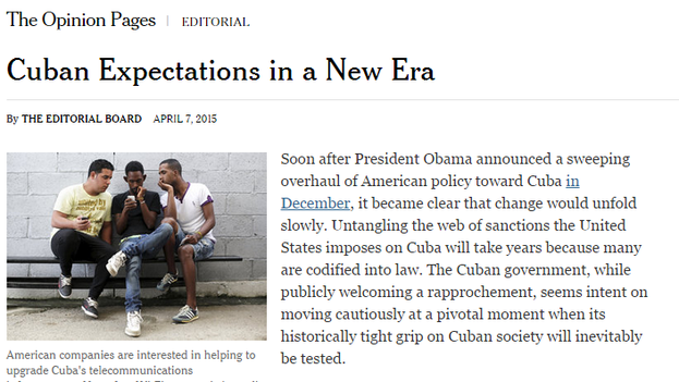 El editorial publicado en 'The New York Times'.