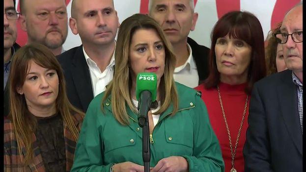 A pesar de ganar las elecciones regionales ayer, la presidenta de la Junta de Andalucía perdió 14 diputados y tiene muchas opciones de abandonar el cargo por falta de apoyos. (Captura)