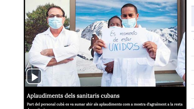 Los sanitarios cubanos se unieron a los andorranos para aplaudir a quienes batallan contra el coronavirus.