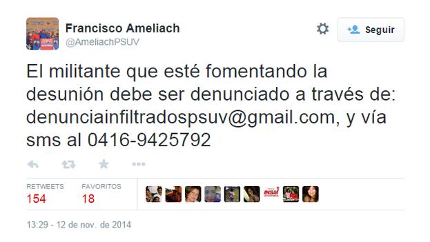 El tuit de Francisco Ameliach.