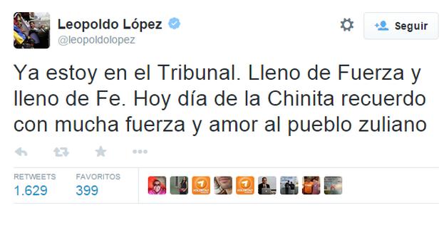 Un tuit de Leopoldo López.