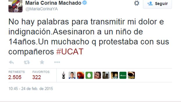 Un tuit de María Corina Machado.