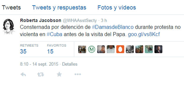 El tuit de Roberta Jacobson.