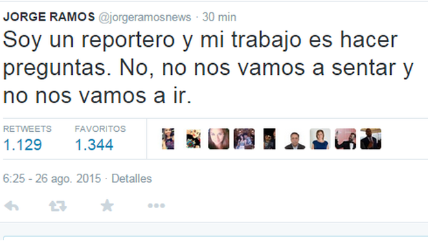 Un tuit del periodista Jorge Ramos. (@jorgeramosnews)