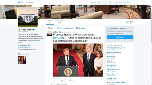 Cuenta de Twitter en español de La Casa Blanca. (14ymedio)