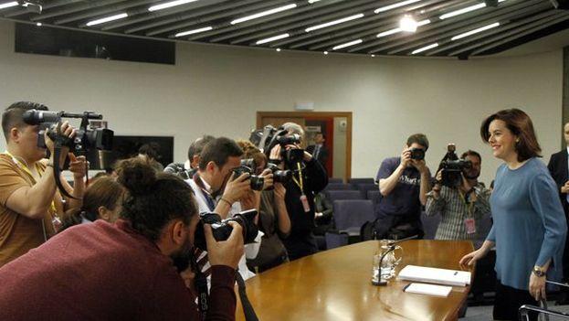 La vicepresidenta del Gobierno español en la rueda de prensa posterior al Consejo de Ministros de este viernes. (@LaMoncloa)