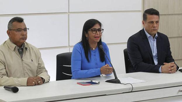 La vicepresidenta de Venezuela, Delcy Rodríguez, ha anunciado en rueda de prensa la creación de este cuerpo para vigilar 72 puntos de control en fronteras, puertos y aeropuertos. (@ViceVenezuela)
