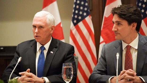 El vicepresidente de EE UU y el primer ministro canadiense abordaron varios asuntos, entre ellos el caso de Huawei. (@VP)