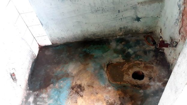 Baño de la vivienda improvisada de Yudelmis Urquiza. (14ymedio)